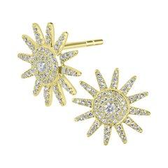 18K Yellow Gold Pavé Diamond Star Stud Earring