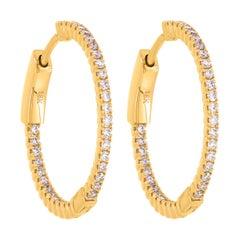 18k Yellow Gold Pave Round Diamond Huggie Hoop Earrings