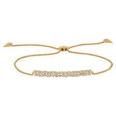 18k Yellow Gold Pave Round Diamond Rectangle Bar Adjustable Bracelet