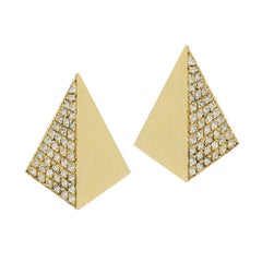 "18 Karat Yellow Gold Pave White Diamond ""Shadow"" Earrings"