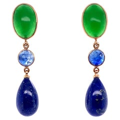 18k Yellow Gold Pendant Earrings with Green Agatha, Blue Sapphire, Lapis Lazulis