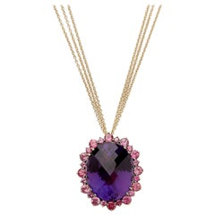 18 Karat Yellow Gold Pendant Necklace Set with 49.13 Carat Amethyst and Spinels