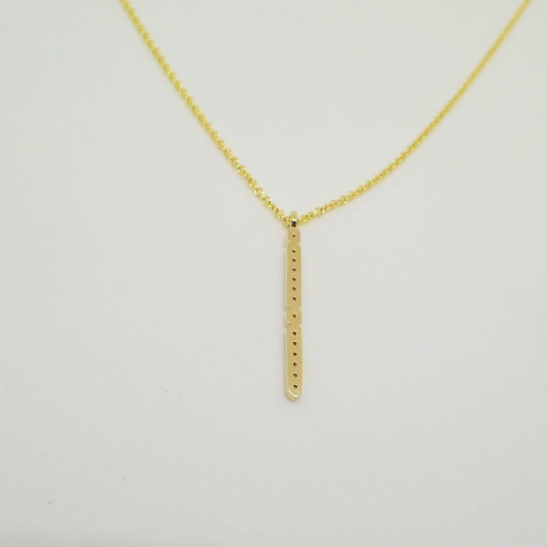 18 Karat Yellow Gold Pendant with 0.21 Carat of Diamond on an Cable Chain For Sale 4