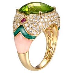 18K Yellow Gold Peridot and Malachite Ring SR-05426A