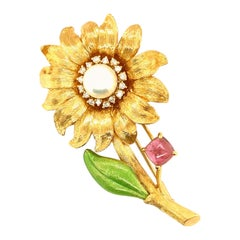 18k Yellow Gold, Pink Tourmaline, Diamond and Pearl Flower Brooch