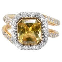 18K Yellow Gold Platinum Radiant Yellow Sapphire Diamond Engagement Ring