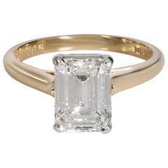 18K Yellow Gold & Platinum Tiffany & Co. 2.23 Ct Emerald Cut Engagement Ring, Si