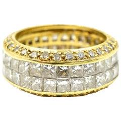 18 k Gelb Gold Princess Schliff und Runde 5.62ct Diamond Ewigkeit Band Ring