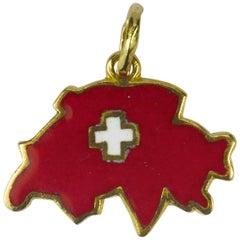 18 Karat Yellow Gold Red Enamel Switzerland Map Charm Pendant