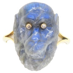 18k Yellow Gold Ring with Carved Labradorite Gorilla with Diamond Eyes