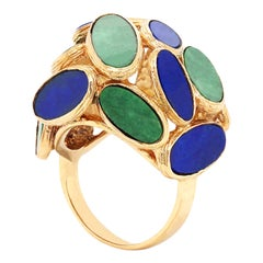 18 Karat Yellow Gold Ring with Jade and Lapis Lazuli