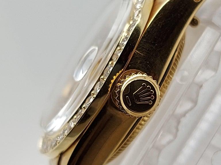 18 Karat Yellow Gold, Rolex Ladies, Datejust President with Diamonds Ref.6917 For Sale 4