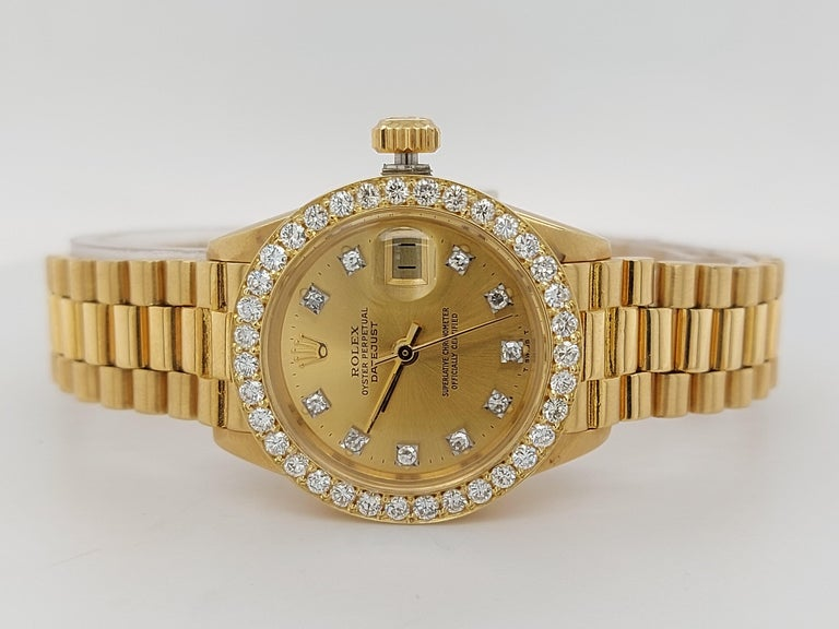 18 Karat Yellow Gold, Rolex Ladies, Datejust President with Diamonds Ref.6917 For Sale 5