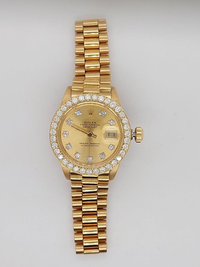 18 Karat Yellow Gold, Rolex Ladies, Datejust President with Diamonds Ref.6917 For Sale 7
