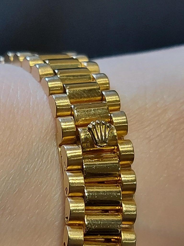 18 Karat Yellow Gold, Rolex Ladies, Datejust President with Diamonds Ref.6917 For Sale 10