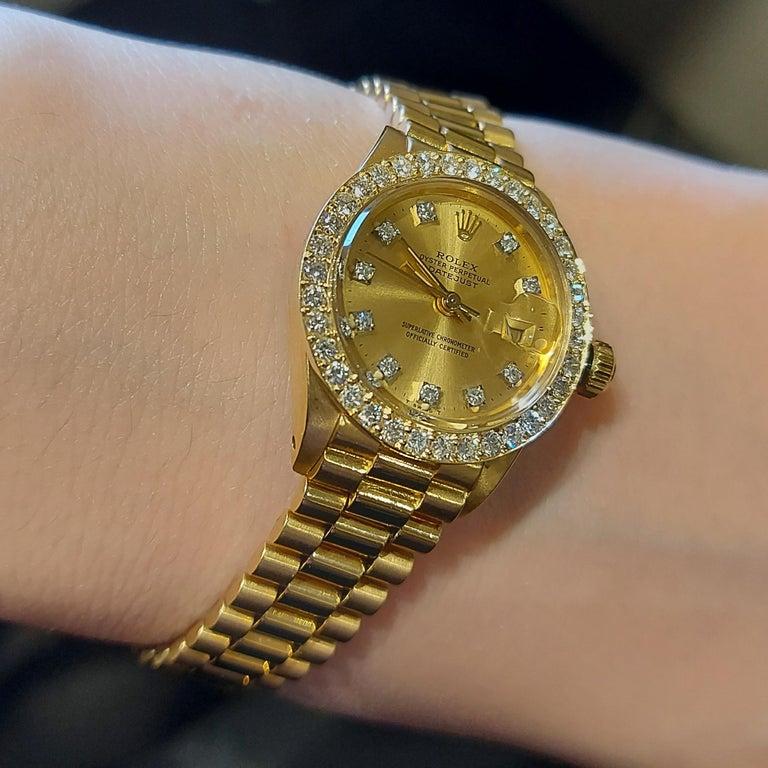 18 Karat Yellow Gold, Rolex Ladies, Datejust President with Diamonds Ref.6917 For Sale 11