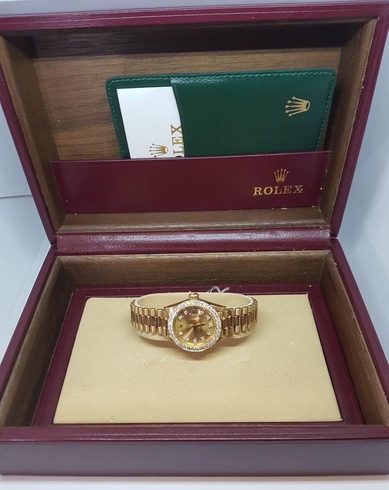 18 Karat Yellow Gold, Rolex Ladies, Datejust President with Diamonds Ref.6917 For Sale 12