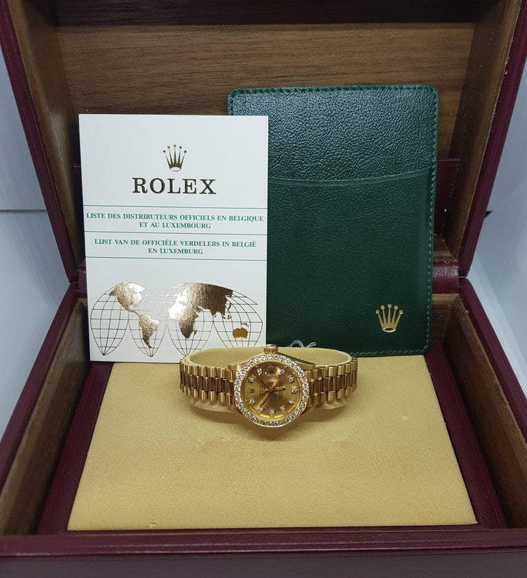 18 Karat Yellow Gold, Rolex Ladies, Datejust President with Diamonds Ref.6917 For Sale 13