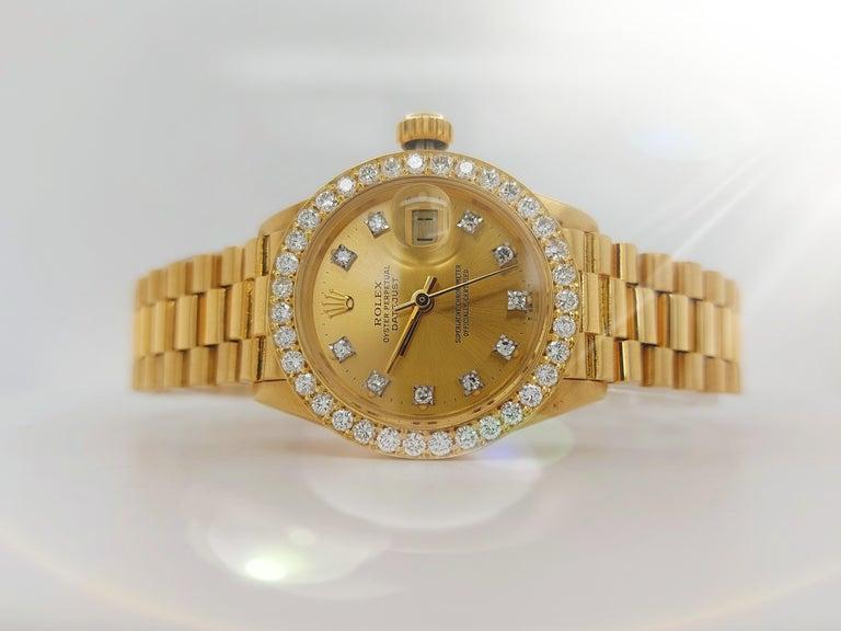Modern 18 Karat Yellow Gold, Rolex Ladies, Datejust President with Diamonds Ref.6917 For Sale