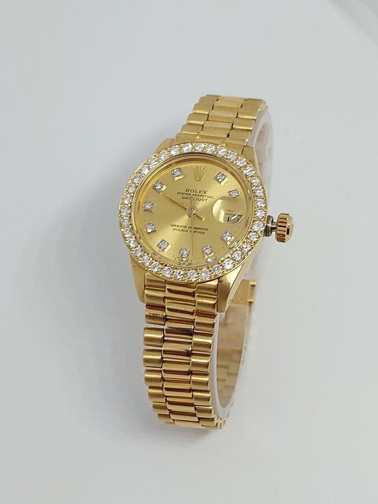 Brilliant Cut 18 Karat Yellow Gold, Rolex Ladies, Datejust President with Diamonds Ref.6917 For Sale