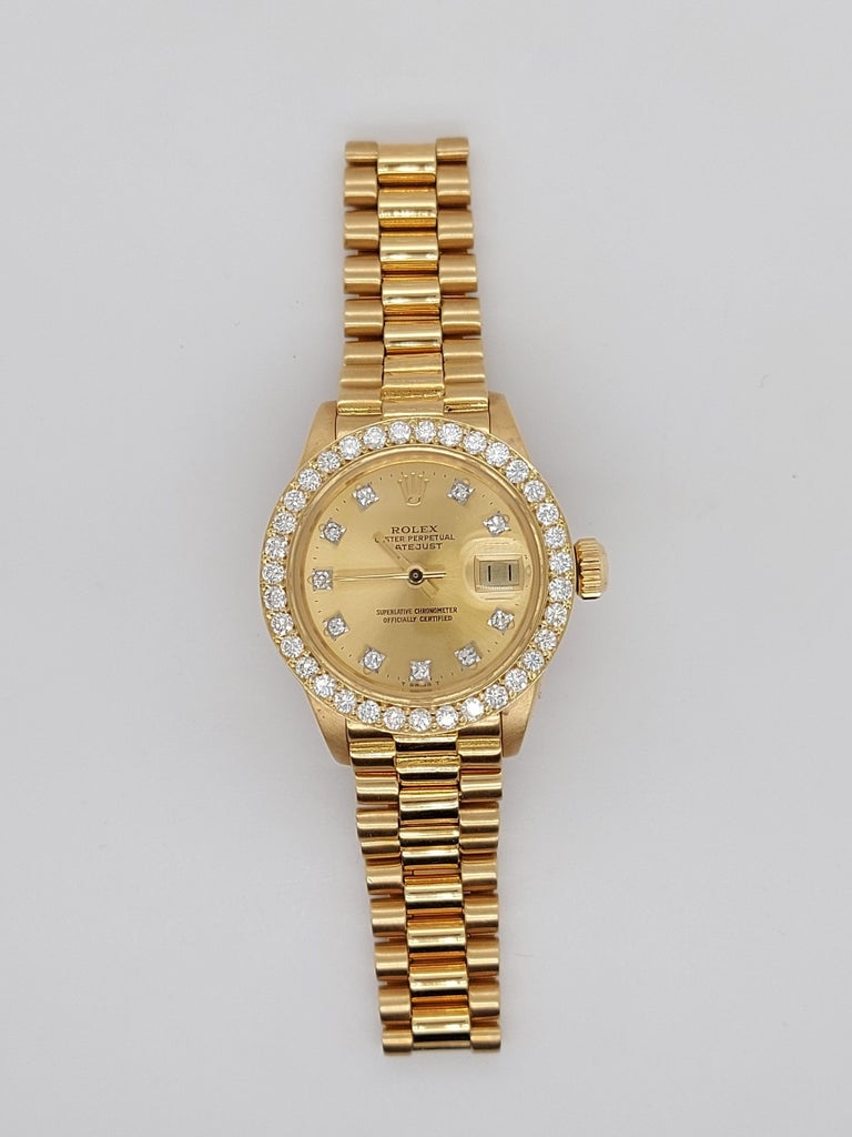 Women's 18 Karat Yellow Gold, Rolex Ladies, Datejust President with Diamonds Ref.6917 For Sale