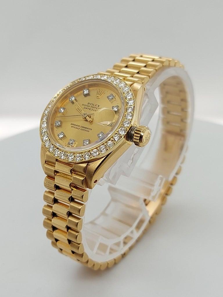 18 Karat Yellow Gold, Rolex Ladies, Datejust President with Diamonds Ref.6917 For Sale 1
