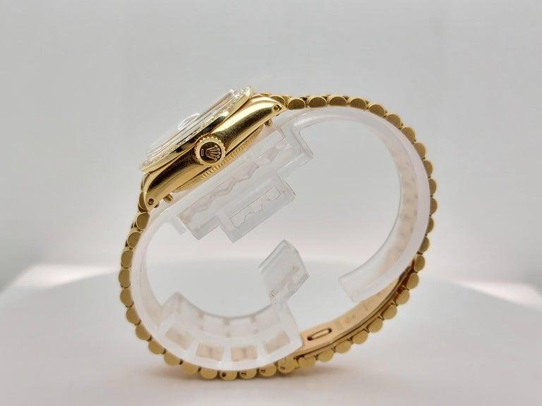 18 Karat Yellow Gold, Rolex Ladies, Datejust President with Diamonds Ref.6917 For Sale 2