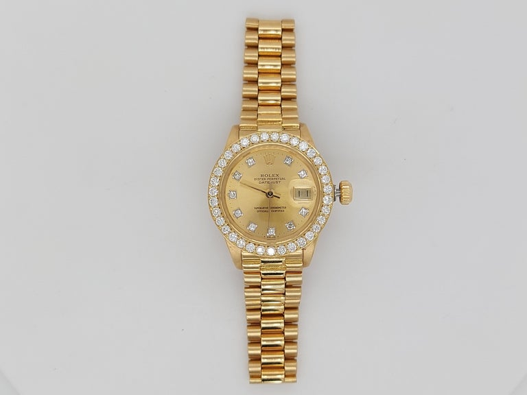 18 Karat Yellow Gold, Rolex Ladies, Datejust President with Diamonds Ref.6917 For Sale 3
