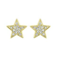 18K Yellow Gold Round Diamond Star Stud Earrings