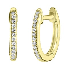 18k Yellow Gold Round Single Cut Pave Diamond Hoop Earring