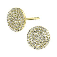 18k Yellow Gold Round Single Cut Pave Diamond Round Stud Earrings