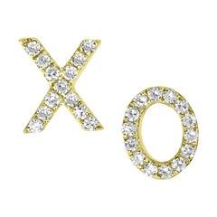 18k Yellow Gold Round Single Cut Pave Diamond XO Stud Earring