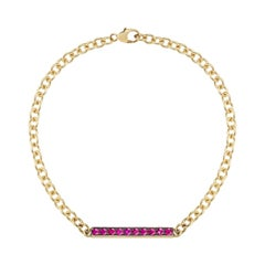 18 Karat Yellow Gold Ruby Bar Bracelet