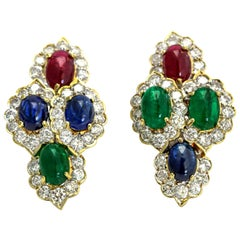 18 Karat Yellow Gold Ruby Emerald Sapphire Diamond Earrings