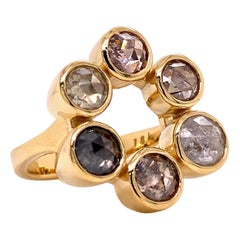 18 Karat Yellow Gold Salt and Pepper Rose Cut Diamond Ring