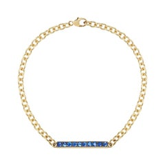 18 Karat Yellow Gold Sapphire Bar Bracelet