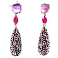 18K Yellow Gold Sapphire Ruby and Tourmaline Sleeper Earrings