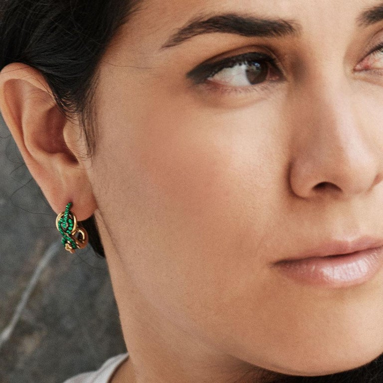 Modern 18 Karat Yellow Gold Silver Emeralds Rubies Earrings Aenea For Sale