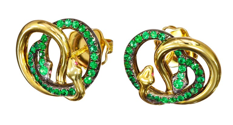 Women's 18 Karat Yellow Gold Silver Emeralds Rubies Earrings Aenea For Sale
