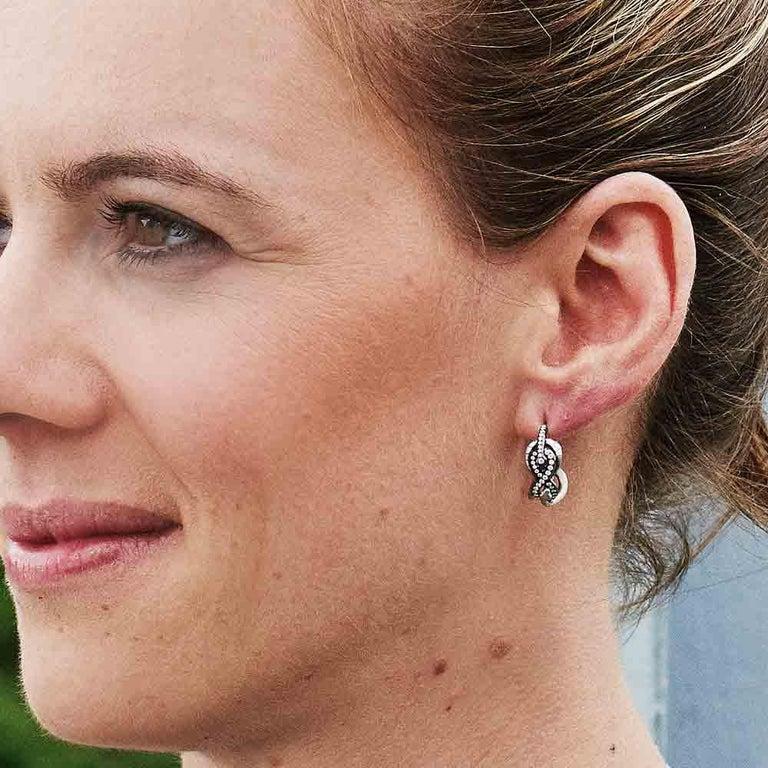 18 Karat Yellow Gold Silver Emeralds Rubies Earrings Aenea For Sale 2
