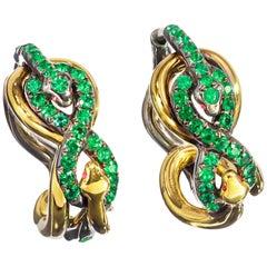 18 Karat Yellow Gold Silver Emeralds Rubies Earrings Aenea