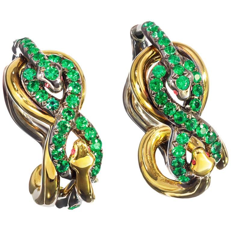 18 Karat Yellow Gold Silver Emeralds Rubies Earrings Aenea For Sale