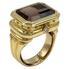 18K Yellow Gold Smokey Topaz Right Hand Ring
