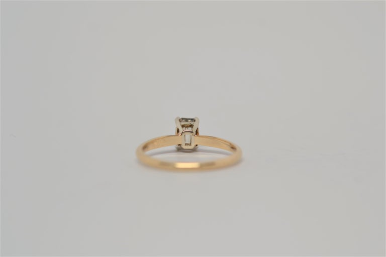 18K Yellow Gold Solitaire Emerald Cut Diamond Engagement Ring For Sale 1