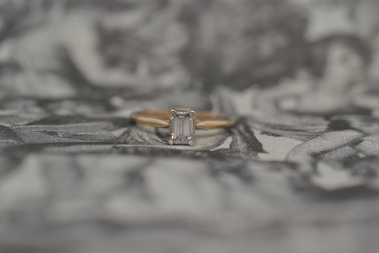 18K Yellow Gold Solitaire Emerald Cut Diamond Engagement Ring For Sale 5