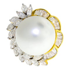 18 Karat Yellow Gold South Sea Pearl and Diamond Cocktail Ring