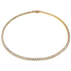 18K Yellow Gold Straight Line Round Diamond Riviera 11.70ct Necklace by Manart