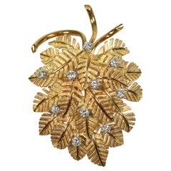18K Yellow Gold Stylized Palm Leaf Pin with .75 Carat of Diamonds