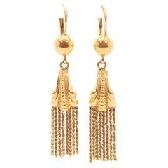 Tassel And 18K Yellow Gold Drop Earrings