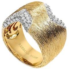 18k Yellow Gold Textured Block Ring
